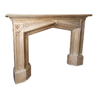 Mid 19th Century Gothic Revival Style Carved Carrara Marble Mantel For Sale
