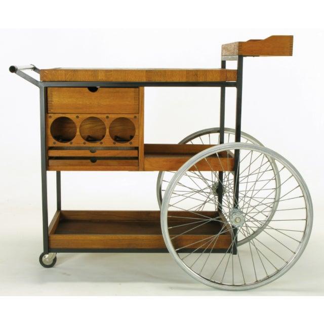 Bill W. Sanders Mid-Century Rolling Bar Cart - Image 4 of 10