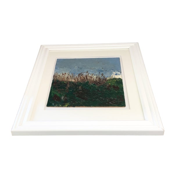 "Superb Acrylic on Masonite original landscape painting in a white frame .signed and titled Central Park painting 8.5"" by 7"""