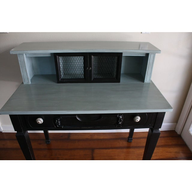 Vintage Black & French Blue Custom Painted Accent Desk, For Sale - Image 9 of 11