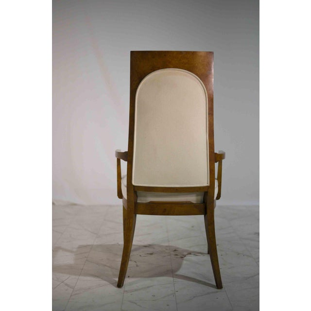 Cream 1960s Hollywood Regency Amboyna Wood Dining Chairs by Mastercraft - Set of 6 For Sale - Image 8 of 13