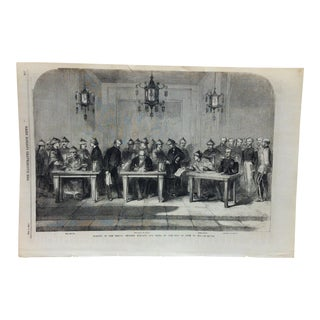"Mid 19th C. Antique ""Signed of the Treaty Between England and China"" Print For Sale"