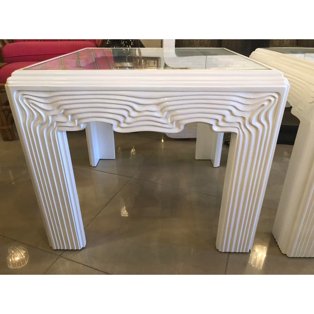Art Deco Vintage Modern White Lacquered Wavy End Side Tables -A Pair For Sale - Image 3 of 13