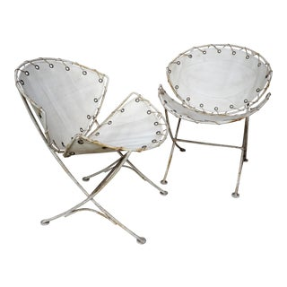 1960s Mid-Century Modern Custom Tempestini Designed Wrought Iron Side Chairs - a Pair For Sale