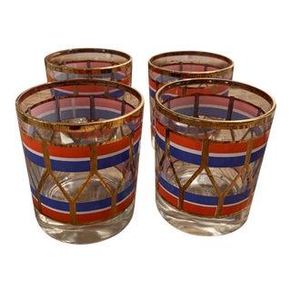 Vintage Red, White & Blue Glasses- Set of 4 For Sale