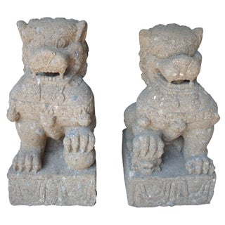 Late 20th Century Vintage Chinese Concrete Foo Dogs Guardian Lion Statues- A Pair Preview