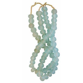 Icy Teal Jumbo Sea Glass Beads - Set of 2 Strands For Sale