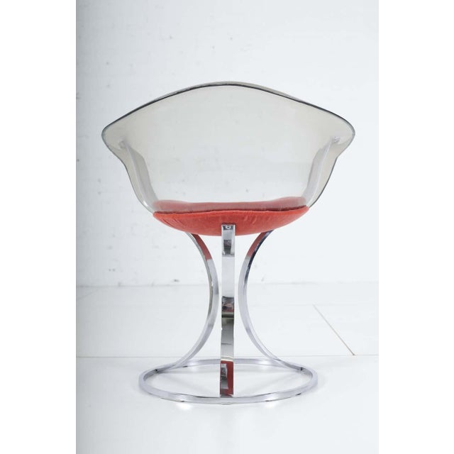 1960s Peter Hoyte Acrylic Tulip Chair on Chrome Base For Sale - Image 5 of 7