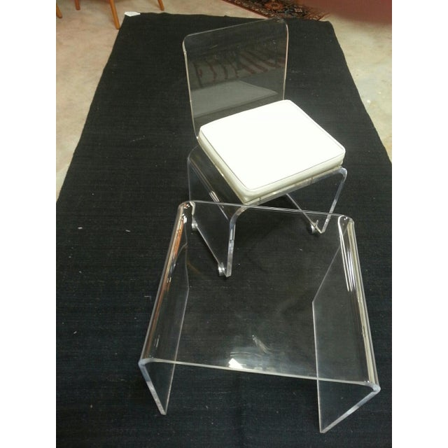 Vintage Lucite Table & Chair For Sale - Image 11 of 11