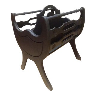 Unique Black Traditional Duncan Phyfe Magazine Rack Wood