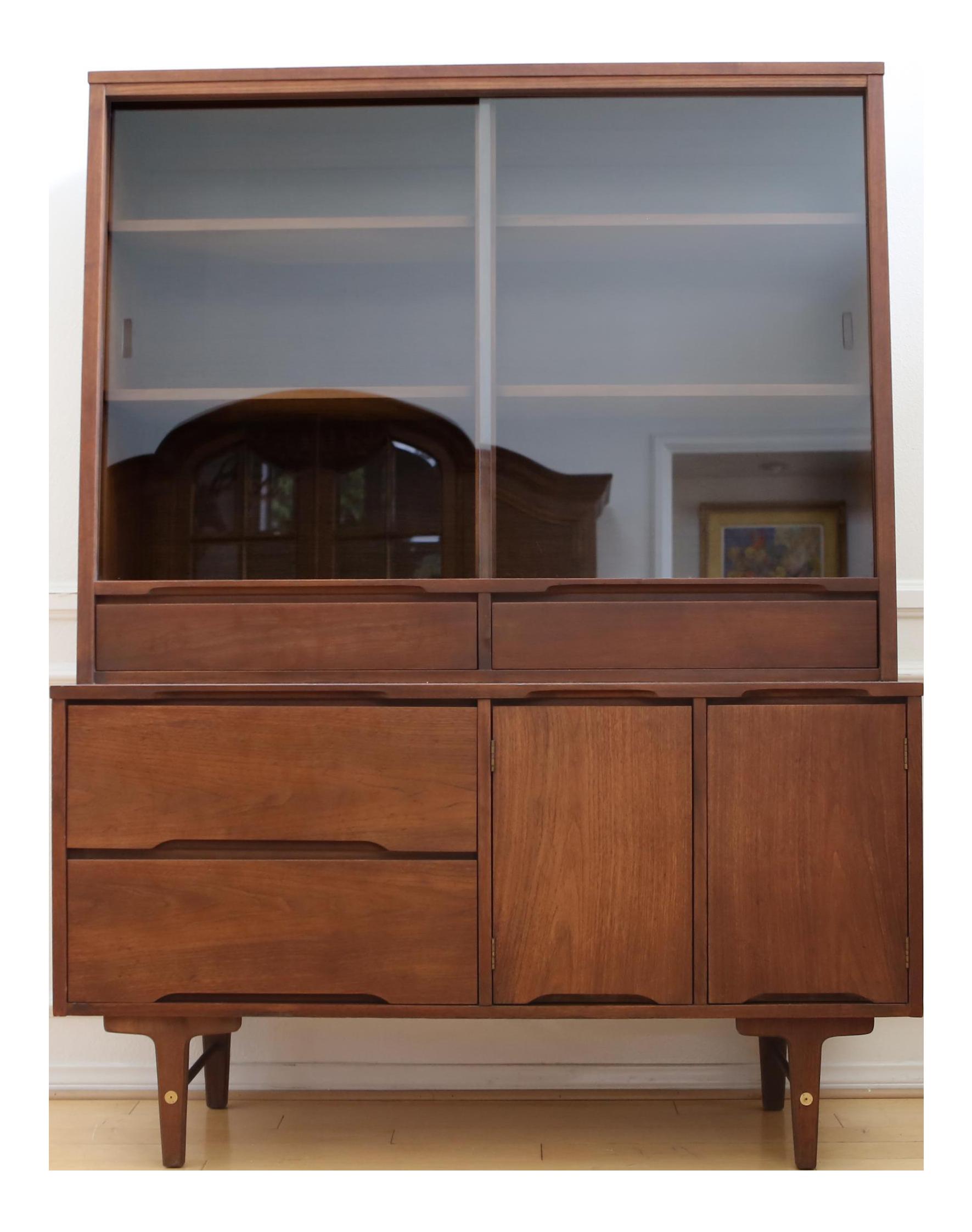 Vintage stanley mid century modern hutch china cabinet chairish