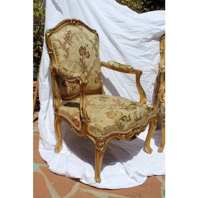 Pr. Of Signed Maison Jansen Arm Chairs Late 19c. Louis XV Style For Sale - Image 11 of 12
