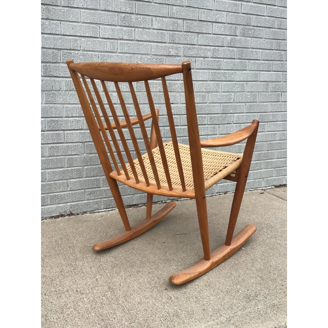 Danish Modern Corded Seat Teak Rocking Chair For Sale In Denver - Image 6 of 8