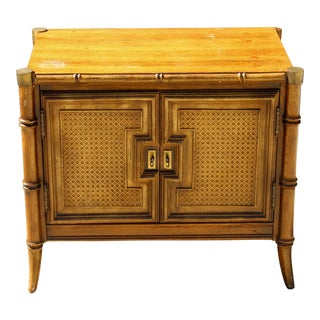 Vintage Faux Bamboo Cane Chinoiserie Hollywood Regency Nightstand Side Table For Sale