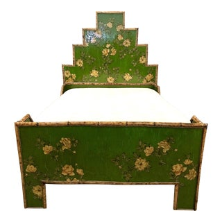 1970s Chinoiserie Bamboo and Floral Decoupage Bedframe For Sale