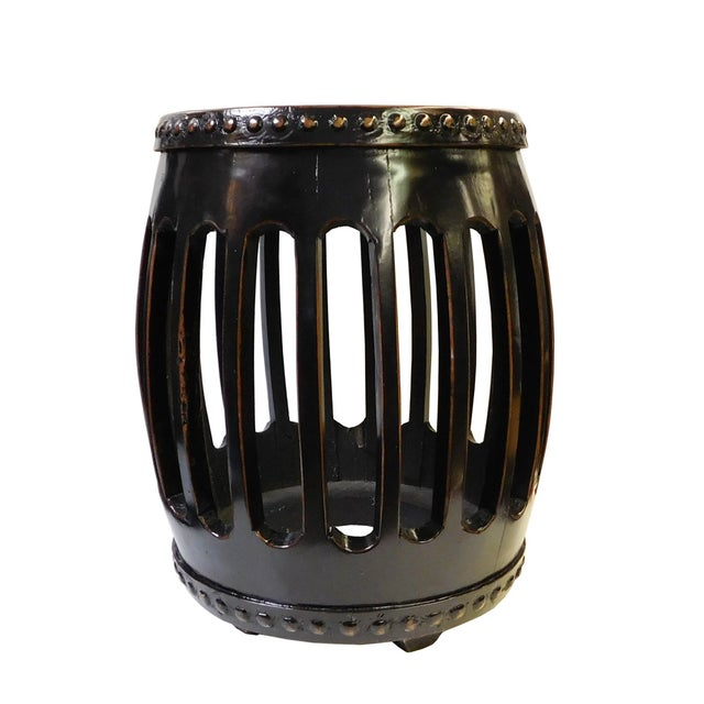 Chinese Black Round Barrel Wood Stool - Image 6 of 7