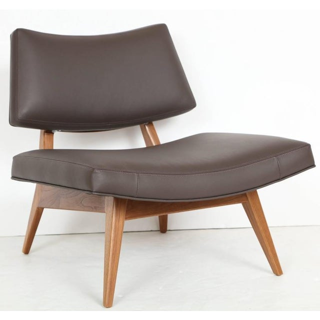 Mn originals solid walnut handcrafted slipper chair with floating upholstered seat and back. COM requirements: 4 yards. 5%...