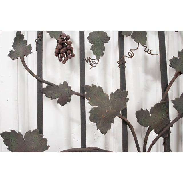 "Arts & Crafts Pair of French Early 20th Century Painted Wrought-Iron ""Grapevine"" Gates For Sale - Image 3 of 13"