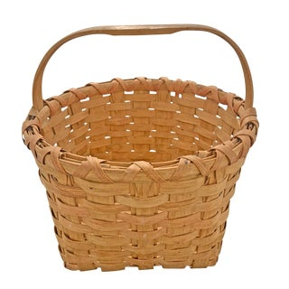 Early 20th Century Oak Splint Basket For Sale