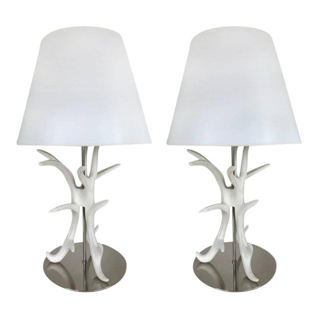 White Painted Antler Table Lamps - A Pair For Sale
