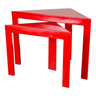 Pair of Corner Nesting Tables - Red Lacquer by Robert Kuo, Hand Made, Limited Edition For Sale