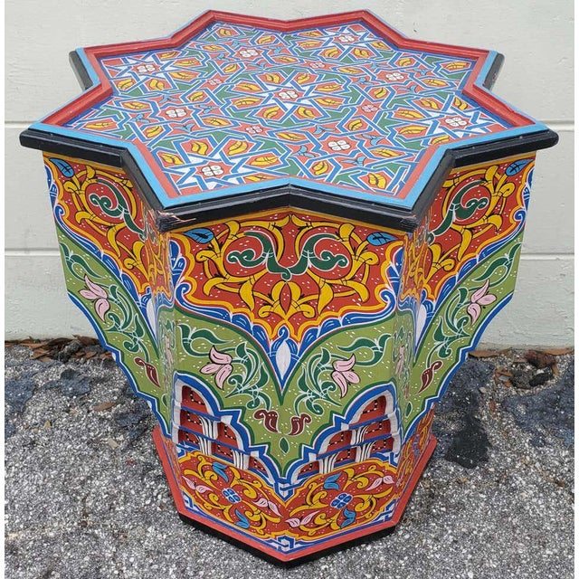 Red Moroccan Lg Ceuta 4 Painted and Carved Star Table, Multi-Color For Sale - Image 8 of 8