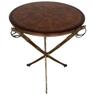 Napoleon III Style Gilt Metal Sword Motif Burlwood Side Table For Sale