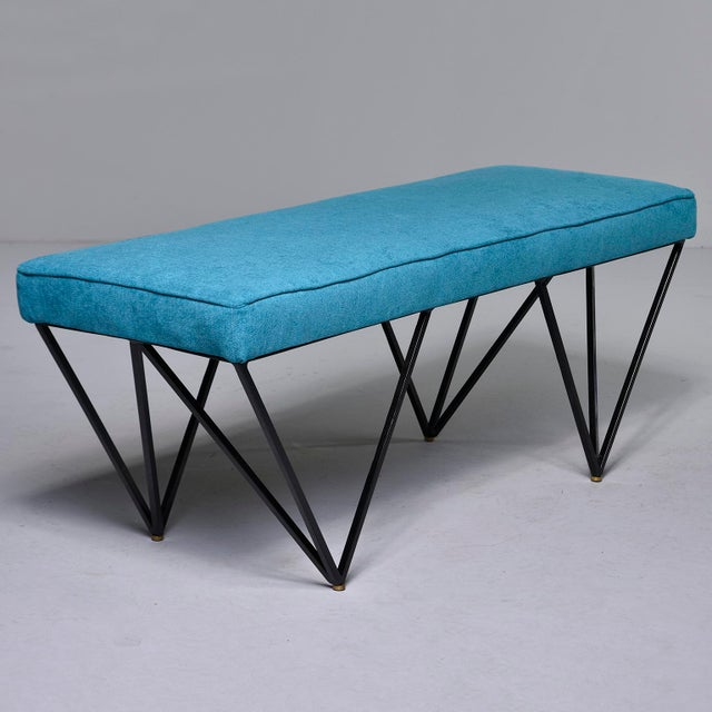 Italian Mid-Century Style Bench With Teal Fabric and Black Metal Legs For Sale - Image 10 of 10
