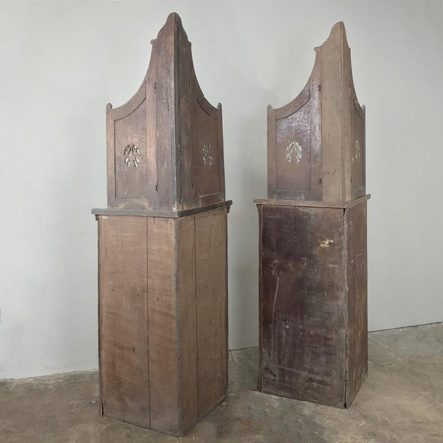 Pair 19th Century Country French Stripped Oak Corner Cabinets For Sale - Image 12 of 13