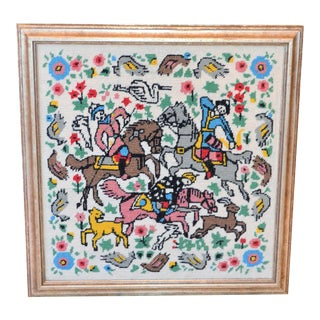 Vintage Needlepoint Persian Hunting Scene