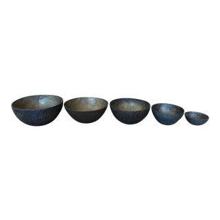 Bronze & Matte Brass Finish Metal Nesting Bowls - Set of 5