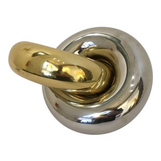 Abstract Gold and Silver Metal Rings Sculpture For Sale
