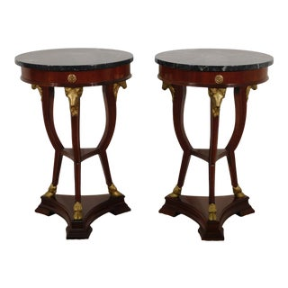Neoclassical National Trust Carved Neoclassical Empire Marble Top Side Tables - a Pair For Sale