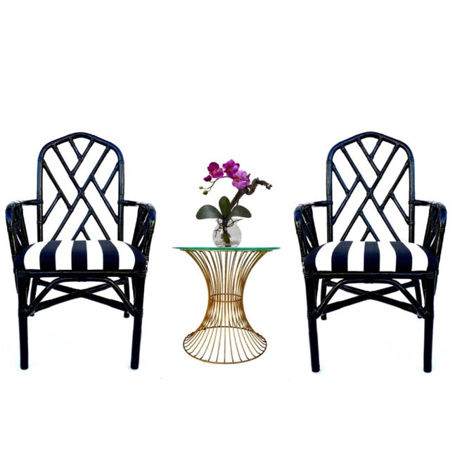 Vintage Bamboo Chippendale Arm Chairs - A Pair For Sale - Image 12 of 12