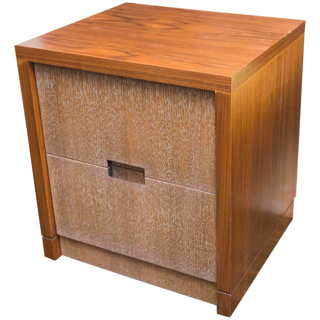 Wood Walnut and Cerused Oak Two-Drawer Cabinet For Sale - Image 7 of 7