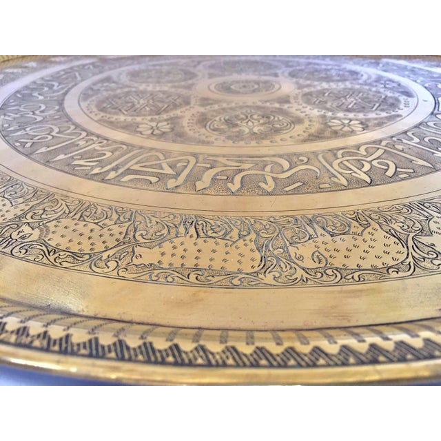 Indo-Persian Handcrafted Decorative Hammered Brass Tray For Sale - Image 9 of 13