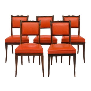 Charles X Style Antique French Dining Chairs - Set of 5 For Sale