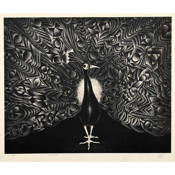 Artist: Mario Avati, French (1921 - 2009) Title: Le Grand Paon Medium: Mezzotint, signed and numbered in pencil Edition:...