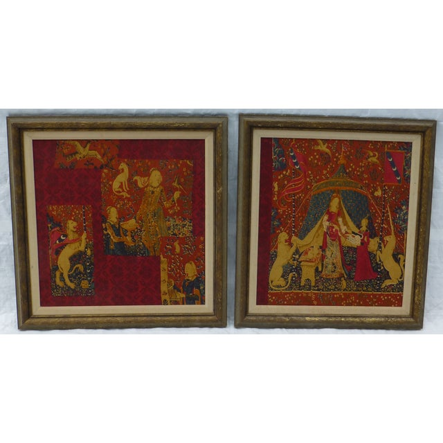Sweet pair of framed tapestries. We love the unicorn ! Dating circa 1960's. Beautiful frames show a little wear and tear.