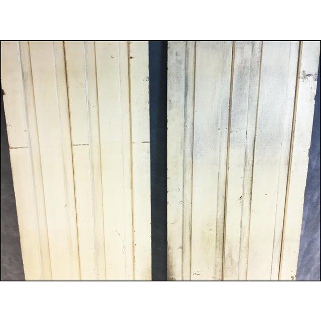 Vintage Rustic Yellow Milk Painted Cabinet Doors - A Pair - Image 3 of 11