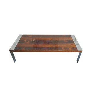 1970s Milo Baughman Chrome & Rosewood Coffee Table For Sale