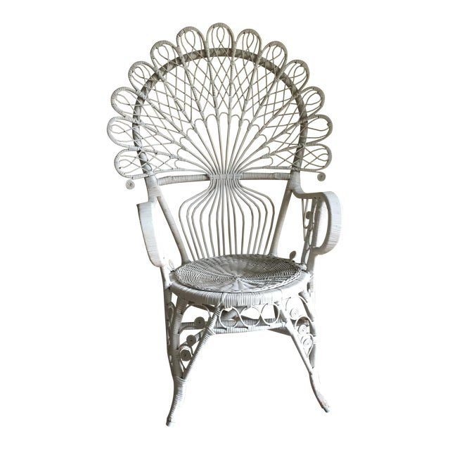 White Wicker Peacock Chair For Sale