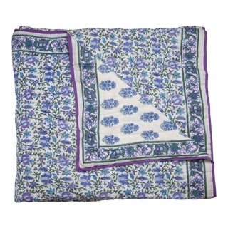 Aria-Riya Reversible Quilt, Twin-XL - Lavendar & Blue For Sale