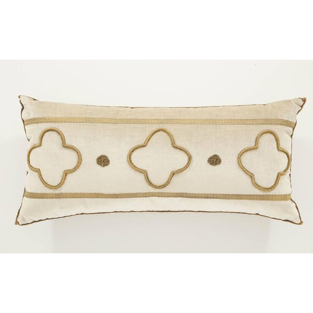 Tan Long Velvet Embroidered Pillow For Sale - Image 8 of 8