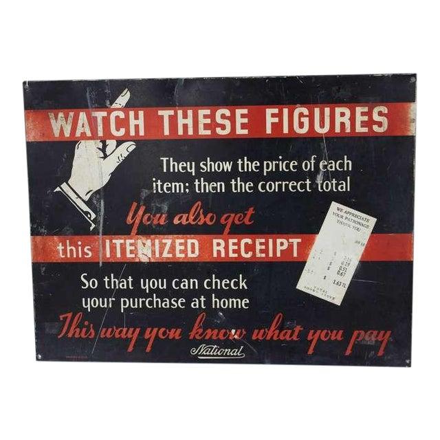 1930's Vintage National Cash Register Co Advertising Sign For Sale