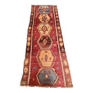 1950s Antique Kurdish Kilim-3′2″ × 9′3″ For Sale