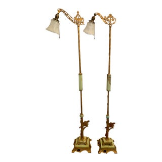 Pair, Antique Art Deco Marble and Metal Floor Lamps For Sale