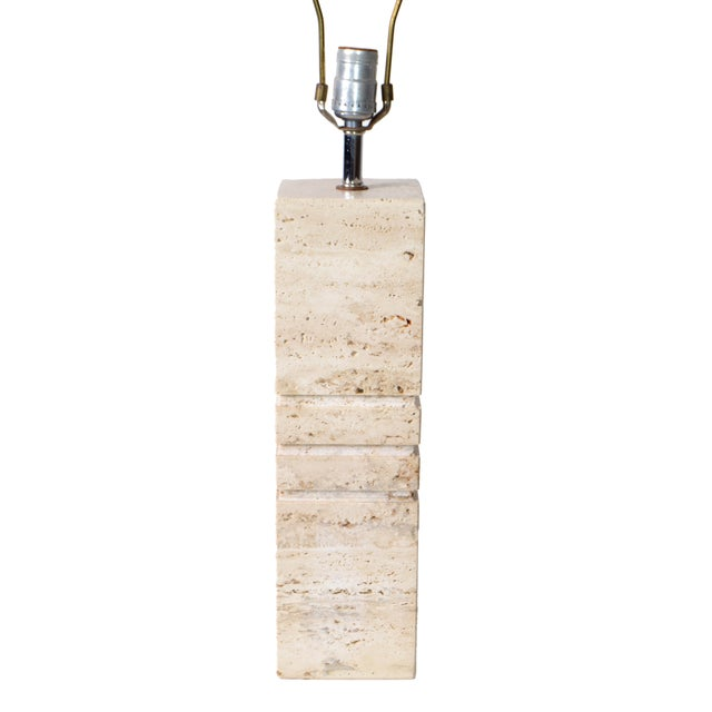 Italian Hand-Carved Travertine Mid-Century Modern Table Lamp Harp & Finial, 1970 For Sale - Image 9 of 12