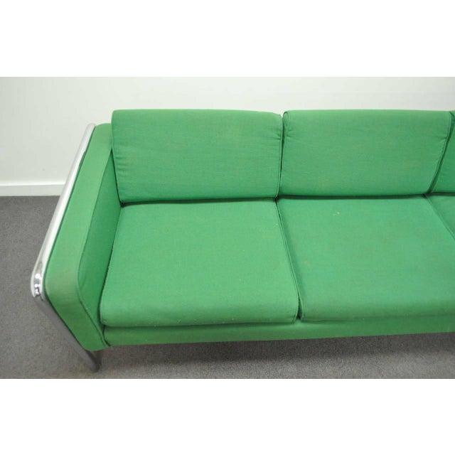 Milo Baughman Mid Century Modern Milo Baughman Style Tubular Chrome Frame Green 3 Seat Sofa For Sale - Image 4 of 10