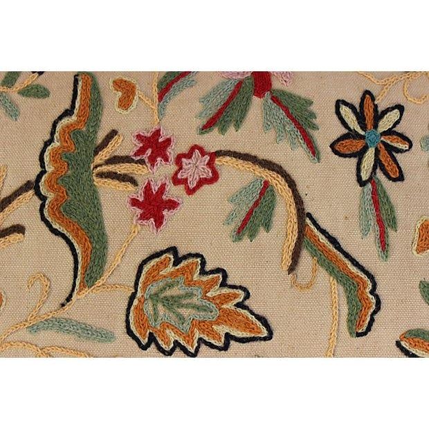 English Crewelwork Floral Pillows - Pair - Image 5 of 6